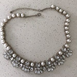 Statement rhinestone and faux pearl necklace